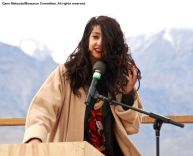 Featured speaker Maytha Alhassen, shown here during the 47th Annual Manzanar Pilgrimage.