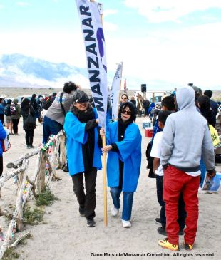 Banner representing Manzanar, shown here during the 47th Annual Manzanar PIlgrimage, April 30, 2016, Manzanar National Historic Site.