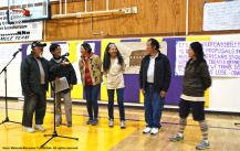 Participants from the 2016 Manzanar At Dusk program. shown here speaking during the open mic wrap-up session.