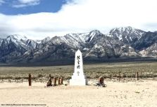 "The cemetery monument at the Manzanar National Historic Site. The Japanese inscription reads ""I Rei To,"" which translates to ""Soul Consoling Tower."""