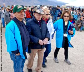 Former Inyo County Superviros Bob Bracey (second from left) being escorted to the stage to receive the 2016 Sue Kunitomi Embrey Legacy Award.