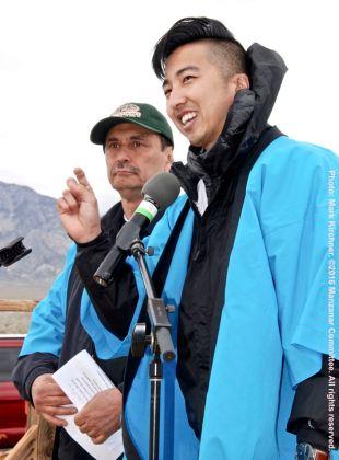 Master of Ceremonies Craig Ishii with Manzanar Committee Co-Chair Bruce Embrey (background)