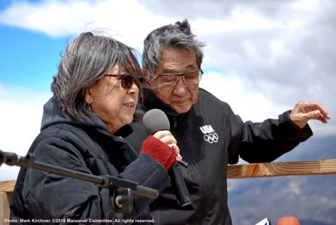 NCRR's Kathy Masaoka and Wilbur Sato recite a poem during the 47th Annual Manzanar Pilgrimage