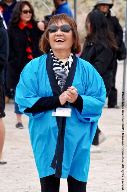 Ondo dancing during the 47th Annual Manzanar Pilgrimage. Manzanar Committee Co-Chair Kerry Cababa is shown in this photo.