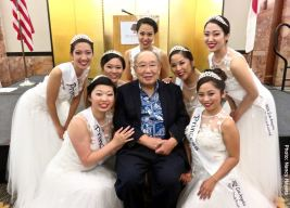 Kanji Sahara with the 2016 Nisei Week Court. Photo: Nancy Hayata