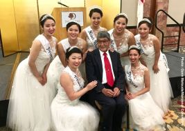 Wilbur Sato with the 2016 Nisei Week Court. Photo: Gann Matsuda/Manzanar Committee