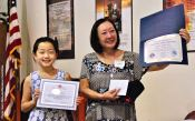 Student Awards recipient Sara Omura with Manzanar Committee member Colleen Miyano