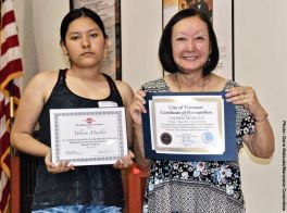 Student Awards recipient Valeria Murillo with Manzanar Committee member Colleen Miyano