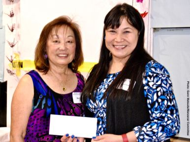 Jeanna Tang (right) with her second raffle prize, shown here with Kerry Cababa