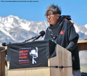 Former Manzanar incarceree and Manzanar Committee member Pat Sakamoto co-emceed the program.