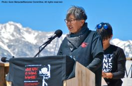 Former Manzanar incarceree and Manzanar Committee member Pat Sakamoto co-emceed the program.