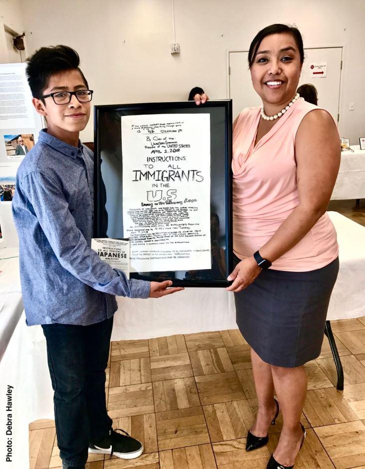 Student Awards recipient Eliseo Hernandez with Gardena Mayor Tasha Cerda