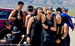 UCLA Kyodo Taiko members having some fun before their performance.