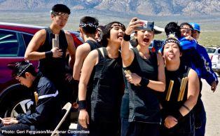 UCLA Kyodo Taiko members having some fun before their performance.