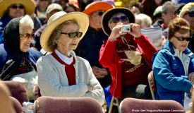 "The ""Songbird of Manzanar,"" Mary Kageyama Nomura (in white). That's Aiko Herzig Yoshinaga behind Mary's right shoulder."