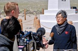 Former Manzanar incarceree and Manzanar Committee member Pat Sakamoto being interviewed