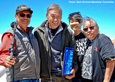 2017 Sue Kunitomi Embrey Legacy Award recipient Alan Nishio (second from left), shown here with Manzanar Committee Co-Chairs Bruce Embrey (left) and Jenny Chomori (right), and co-emcee traci ishigo
