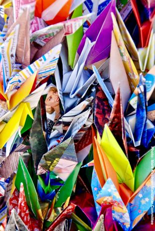 Some of the origami cranes left at the cemetery as an offering during the interfaith ceremony