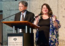 Chris Komai (left) and Kristin Fukushima, both from the Little Tokyo Community Council, emceed the 2018 Los Angeles Day of Remembrance.