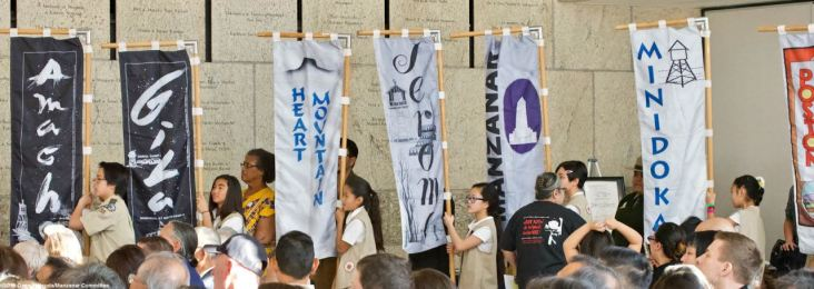 Some of the banners representing the ten World War II American concentration camps
