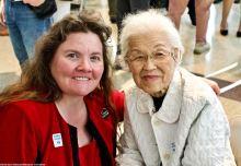 Alisa Lynch, Chief of Interpretation, Manzanar National Historic Site (left) with Aiko Herzig-Yoshinaga.