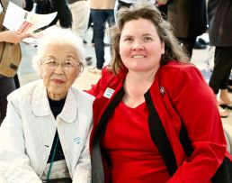 Alisa Lynch, Chief of Interpretation, Manzanar National Historic Site (right) with Aiko Herzig-Yoshinaga.