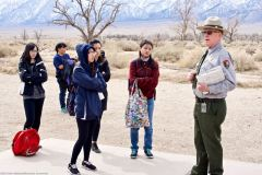 Manzanar National Historic Site Ranger Mark Hachtmann, just before a discussion on living conditions at Manzanar during World War II.