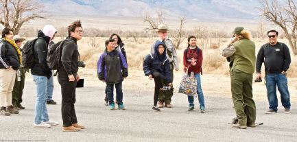 "Students listening to Manzanar National Historic Site Ranger Patricia Biggs during her presentation on the Manzanar ""Riot."""