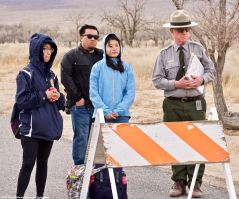 Students with Manzanar National Historic SIte Ranger Mark Hatcthmann near the administration area at Manzanar.