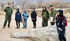 Manzanar National Historic SIte's Chief of Cultural Resources Division Jeff Burton ( left) told the students more about the many World War II-era gardens, and how oral histories and archeology were being used together to unearth more and more gardens.