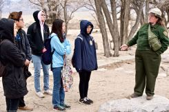 At the site of Manzanar's Children's Village, where Manzanar National Historic SIte's Chief of Interpretation Alisa Lynch (right) talked about the only orphanage at any of America's World War II concentration camps.