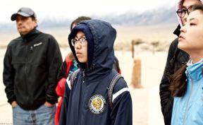 At the Manzanar cemetery.