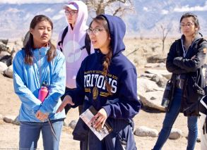 At Block 9, where Manzanar Committee member Wendi Yamashita's great uncle's barrack was located.