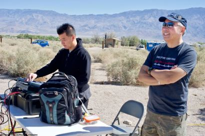 Yoshi Irie (left) runs our audio system. He's with volunteer extraordinaire David Fujioka (right).
