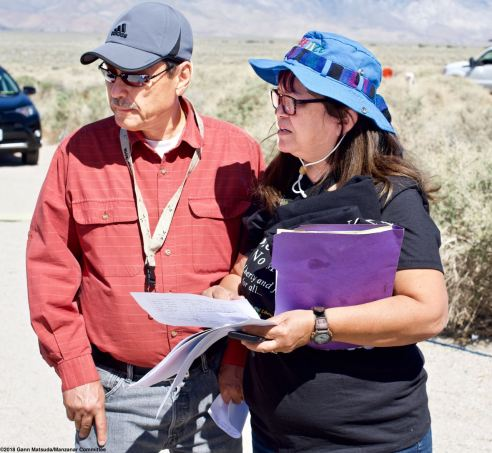 Manzanar Committee Co-Chair Bruce Embrey (left) with Historian and Volunteer Coordinator Vicky Perez (right).