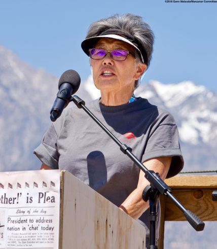 Former Manzanar incarceree and Manzanar Committee member Pat Sakamoto was the emcee for the Pilgrimage.