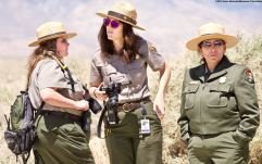 National Park Service rangers from the Manzanar National Historic Site. From left: Chief of Interpretation Alisa Lynch, Park Ranger (interpretive staff; she's in charge of oral histories) Rose Masters, and Superintendent Bernadette Johnson.