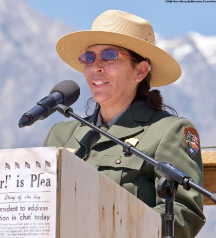 Superintendent Bernadette Johnson welcomed the crowd to the Manzanar National Historic Site.