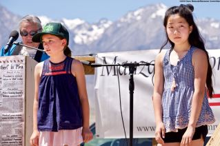 Emily Ota (foreground left) and Sara Omura (foreground right) are among the 2018 winners of the Manzanar Committee's Third Annual Student Awards Program.