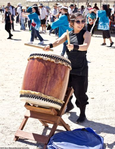 The Manzanar Pilgrimage always ends on a high note..Ondo dancing. Minami Sasaki of UCLA Kyodo Taiko played the taiko drum accompaniment.