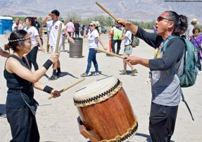 The Manzanar Pilgrimage always ends on a high note..Ondo dancing. Minami Sasaki of UCLA Kyodo Taiko played the taiko drum accompaniment, and got some help from Ken Koshio.