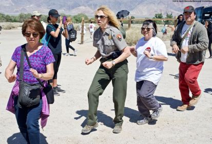 The Manzanar Pilgrimage always ends on a high note..Ondo dancing. That's Ranger Patricia Biggs (center).