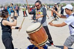 The Manzanar Pilgrimage always ends on a high note..Ondo dancing. UCLA Kyodo Taiko played the taiko drum accompaniment, and got some help from Ken Koshio (center).