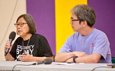 The 2018 Manzanar At Dusk program began with a panel discussion featuring community activist Kathy Masaoka (left) of NCRR and Glen Kitayama (right) formerly of NCRR, and Juli Yoshinaga (not pictured), President of the Cal State Long Beach Nikkei Student Union.