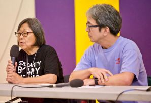 The 2018 Manzanar At Dusk program began with a panel discussion featuring community activist Kathy Masaoka ()eft) of NCRR and Glen Kitayama (right) formerly of NCRR, and Juli Yoshinaga, President of the Cal State Long Beach Nikkei Student Union (not pictured).