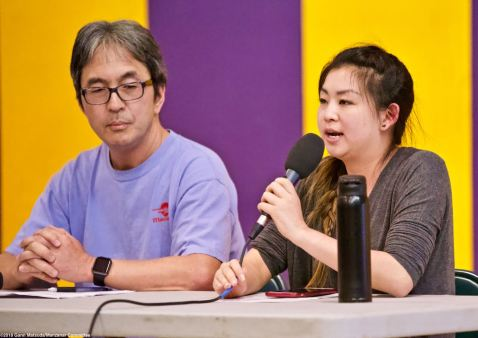The 2018 Manzanar At Dusk program began with a panel discussion featuring community activist Kathy Masaoka (not pictured) of NCRR and Glen Kitayama (center) formerly of NCRR, and Juli Yoshinaga, President of the Cal State Long Beach Nikkei Student Union (right).