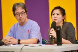The 2018 Manzanar At Dusk program began with a panel discussion featuring community activist Kathy Masaoka (not pictured) of NCRR, Glen Kitayama (left) formerly of NCRR, and Juli Yoshinaga, President of the Cal State Long Beach Nikkei Student Union (right).