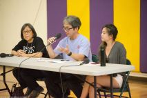 The 2018 Manzanar At Dusk program began with a panel discussion featuring community activist Kathy Masaoka (left) of NCR, Glen Kitayama (center) formerly of NCRR, and Juli Yoshinaga, President of the Cal State Long Beach Nikkei Student Union (right).