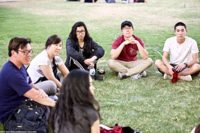 One of the small group discussions during the 2018 Manzanar At Dusk program.
