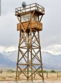 Repllca of one of the historic watch towers at Manzanar.